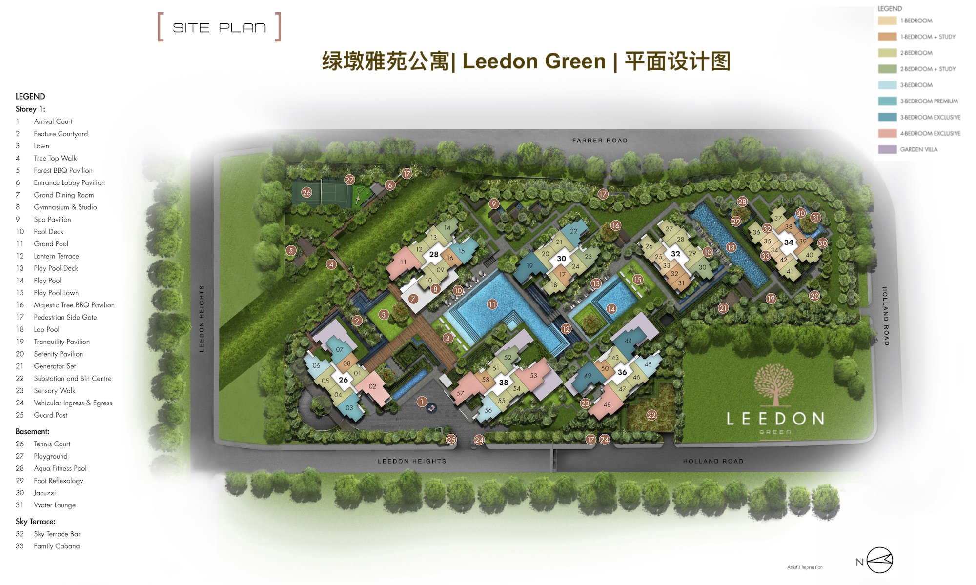 Leedon Green site plan with unit mix