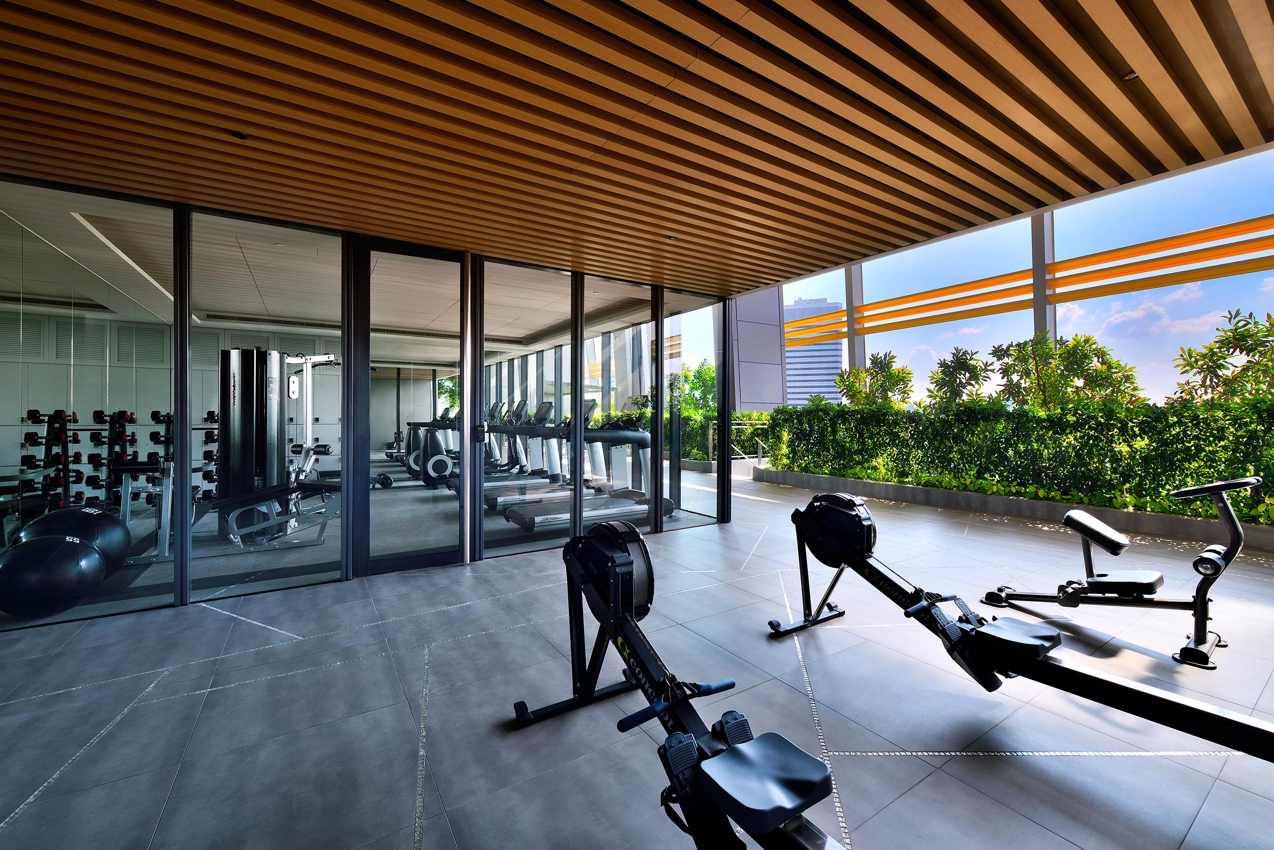 South Beach Residences indoor gym and outdoor fitness zone